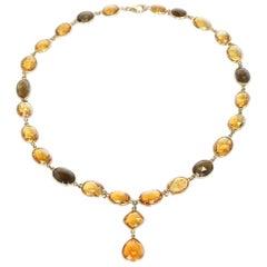 Citrine and Smoky Quartz Double Cabochon Rose Cut Fine 18 Karat Gold Necklace