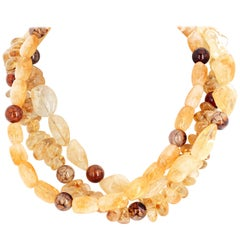 Citrine and Spider Web Jasper Triple-Strand Necklace
