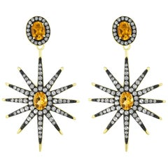 Citrine and White Topaz Star Drop Earring in 14K Gold-Plated Sterling Silver