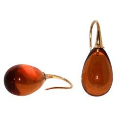 Citrine and Yellow Gold 18 Karat Drop Earrings