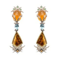 Citrine, Aquamarine and Tourmaline Drop Earrings
