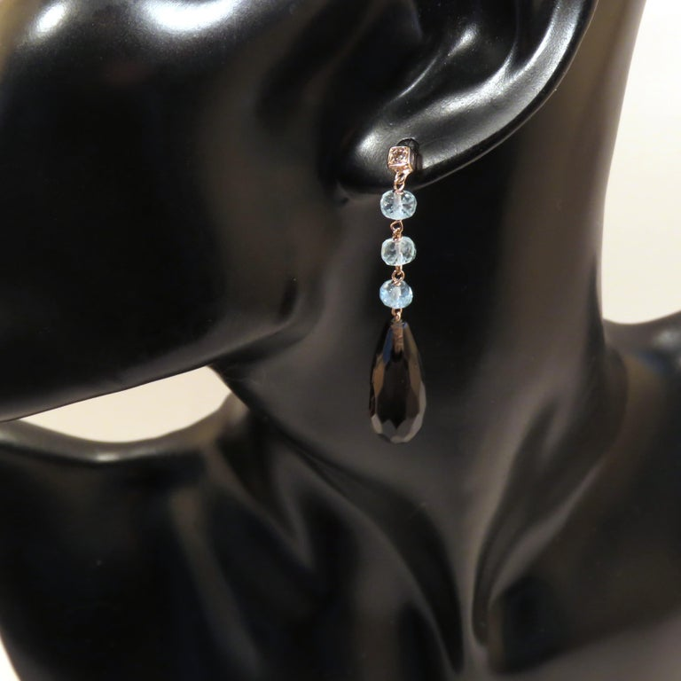Contemporary Citrine Aquamarine Brown Diamonds 9 Karat Rose Gold Drop Dangle Earrings For Sale