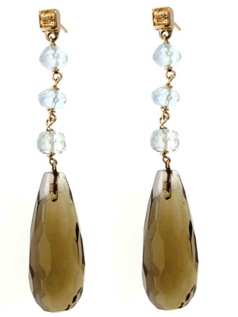 Citrine Aquamarine Brown Diamonds 9 Karat Rose Gold Drop Dangle Earrings In New Condition For Sale In Milano, IT