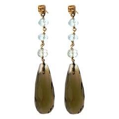 Citrine Aquamarine Brown Diamonds 9 Karat Rose Gold Drop Dangle Earrings