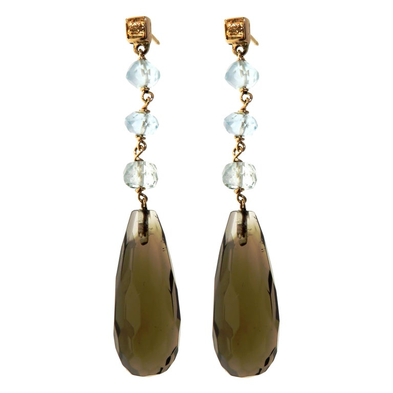 Citrine Aquamarine Brown Diamonds 9 Karat Rose Gold Drop Dangle Earrings For Sale