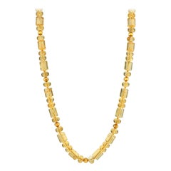 20-Inch Barrel-Shape Citrine Bead Necklace with 18k and 22k Yellow Gold Accents