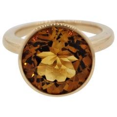 Citrine Bezel-Set Gold Solitaire Ring