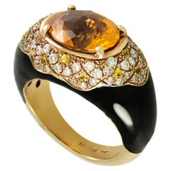 Citrine, Black Enamel Cocktail Ring with White Diamonds Set in 18kt Italian Gold