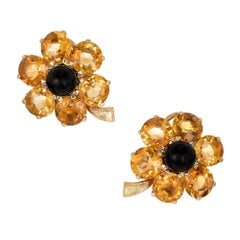 27.00 Carat Citrine Black Onyx Yellow Gold Flower Post Clip Earrings