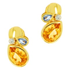 Citrine, Blue Topaz and Diamond Yellow Gold Earrings