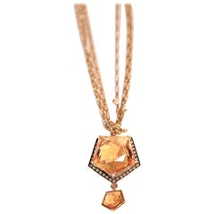 Citrine Brown Diamond 18 Karat Yellow Gold Triple Chain Pendant Necklace