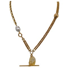 Citrine Buddha, South Sea Pearl Vintage 14 Karat Watch Fob Necklace