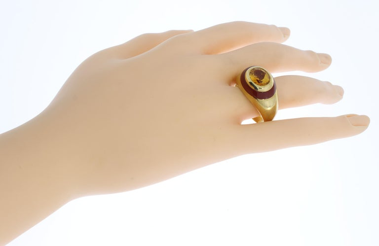 Citrine Carnelian Gold Ring For Sale 3