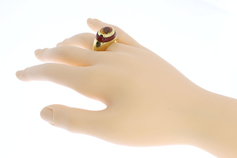 Citrine Carnelian Gold Ring For Sale 4