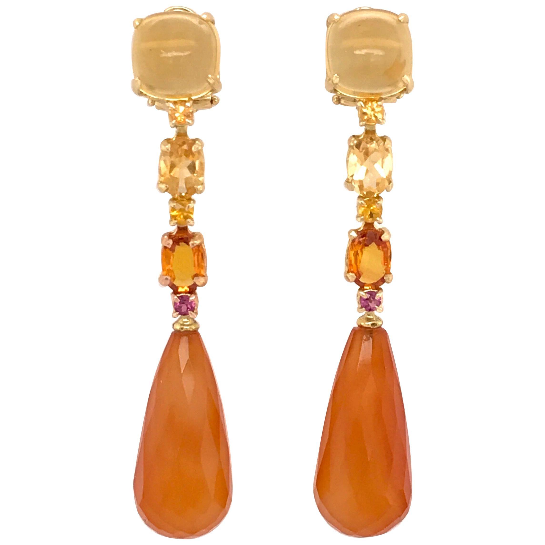 Citrine, Carnelian, Yellow Sapphire, Rhodolite on Gold Chandelier Earrings