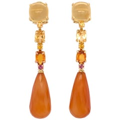 Citrine, Carnelian, Yellow Sapphire, Rhodolite on Gold Chandelier Earrings