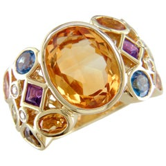 Hammerman Brothers Citrine Carnival Ring with Multi-Color Gemstones and Diamonds