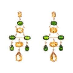 Citrine Chrome Diopside Earrings Estate 10k Yellow Gold Long Chandelier Drops