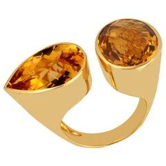 Citrine Cocktail Ring Set in 14 Karat Yellow Gold Settings