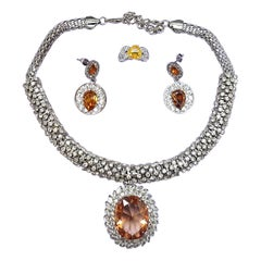Citrine Crystal Pendant Necklace, Earrings & Ring Size 8+