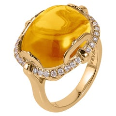 Goshwara Cushion Cabochon Citrine And Diamond Ring