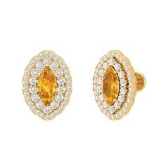 Citrine Diamond 14 Karat Gold Marquise Stud Earrings