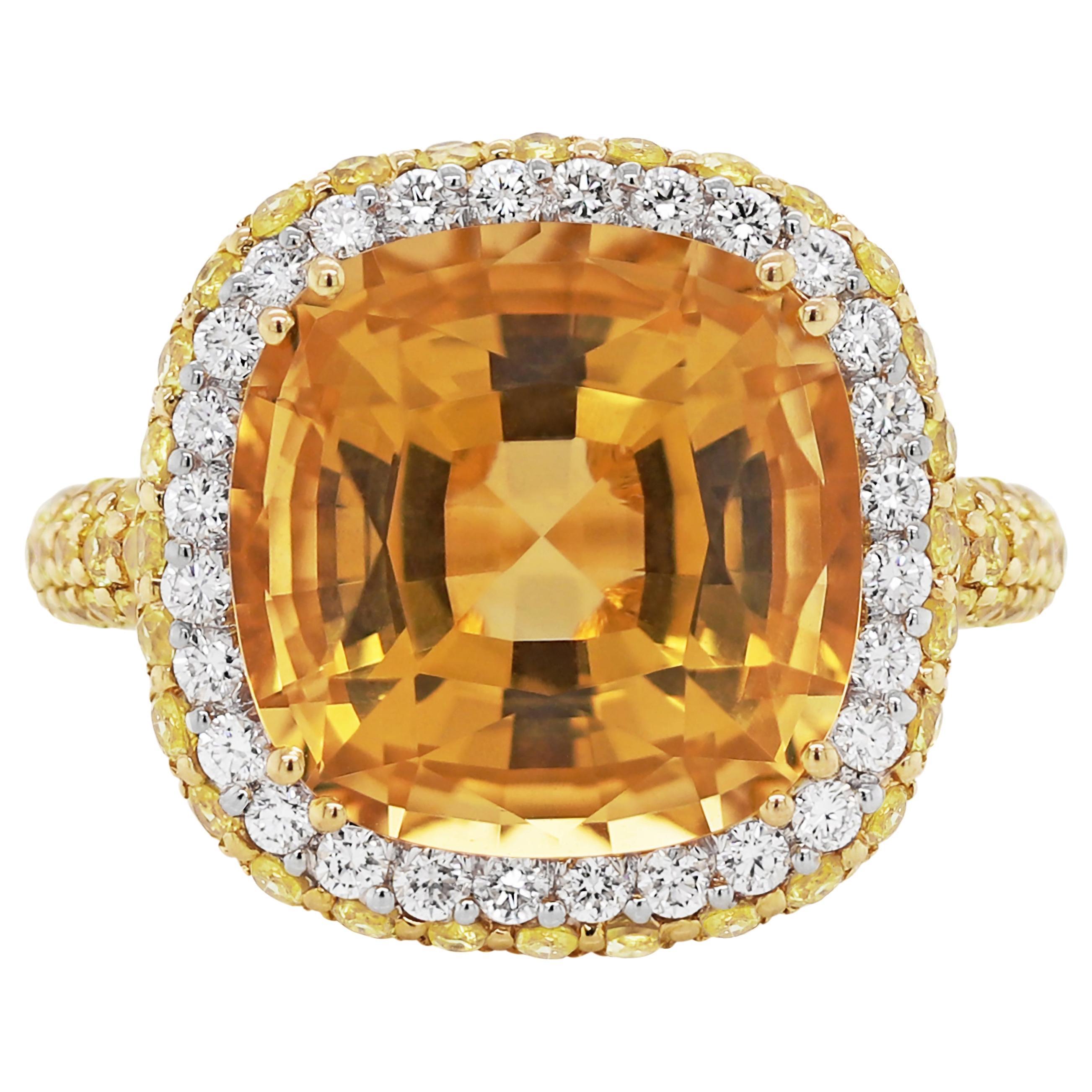 Citrine, Diamond and Yellow Sapphire 18 Carat Gold Ring