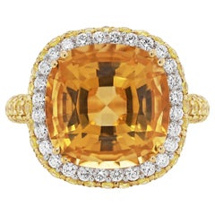 Citrine, Diamond and Yellow Sapphire 18 Carat Gold Ring