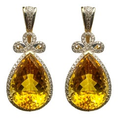Citrine Diamond Dangling Earrings