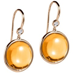 Citrine and Diamond Disc Earrings on Wire
