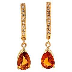 Citrine Diamond Earrings 14k Yellow Gold 3.79 TCW Women Certified