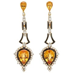 Citrine Diamond Enamel Ear Pendants