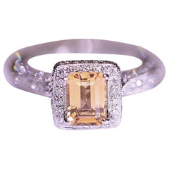 Citrine Diamond Engagement Ring Fashion Ring 18 Karat White Gold