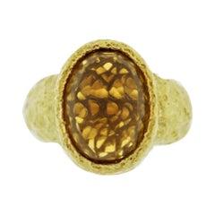 Citrine Diamond Gold Dome Cocktail Ring