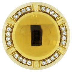 Citrine Diamond Gold Domed Cocktail Ring