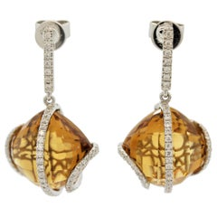 Citrine Diamond Gold Drop Earrings