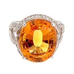 Citrine Diamond Gold Ring