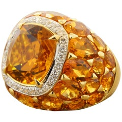 Citrine Diamond Halo Gold Cocktail Ring