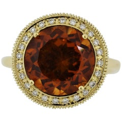 Citrine Diamond Halo Gold Textured Ring