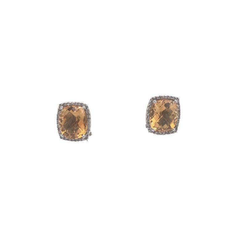 Citrine Diamond Halo Stud Earrings 0.40 Carat 14 Karat White Gold For Sale