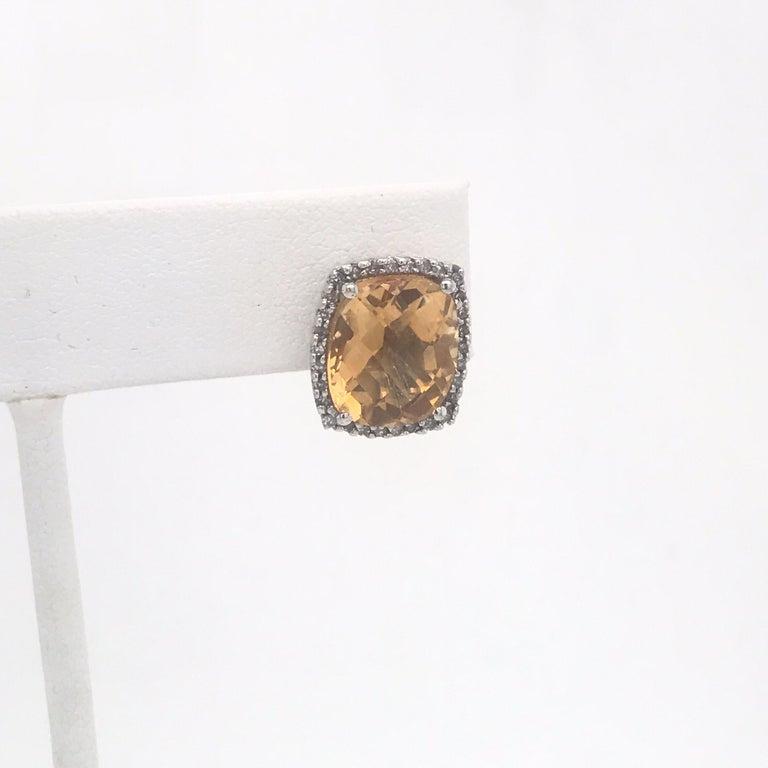 Contemporary Citrine Diamond Halo Stud Earrings 0.40 Carat 14 Karat White Gold For Sale