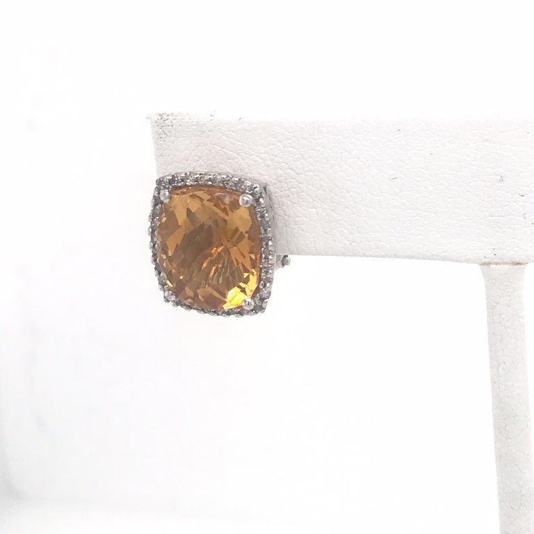 Cushion Cut Citrine Diamond Halo Stud Earrings 0.40 Carat 14 Karat White Gold For Sale