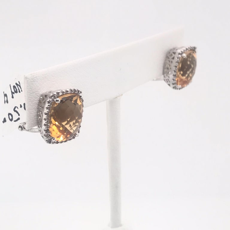 Citrine Diamond Halo Stud Earrings 0.40 Carat 14 Karat White Gold In New Condition For Sale In New York, NY