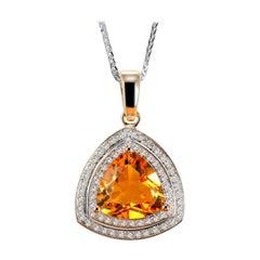 Citrine Diamond Necklace 14K White Gold
