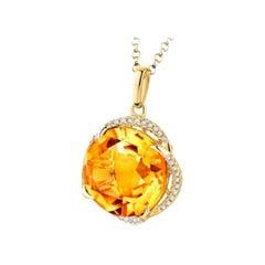 Citrine Diamond Necklace 18K Gold