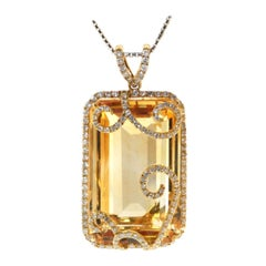 Citrine Diamond Necklace 18K Yellow Gold