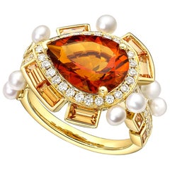 Citrine, Diamond, Pearl and Spessartite Gold Ring