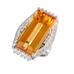 Citrine Diamond Platinum Cocktail Ring