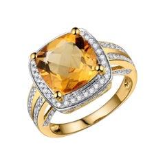 Citrine Diamond Ring 14k Yellow Gold Ring