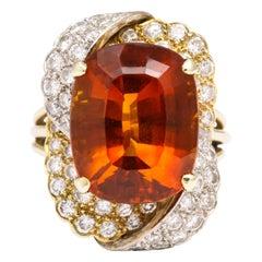 Citrine Diamond Yellow and White Gold Ring